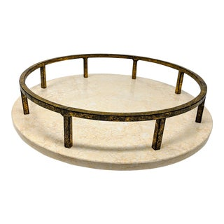 Heavyweight Marble Tray With Antique Metal Railing For Sale