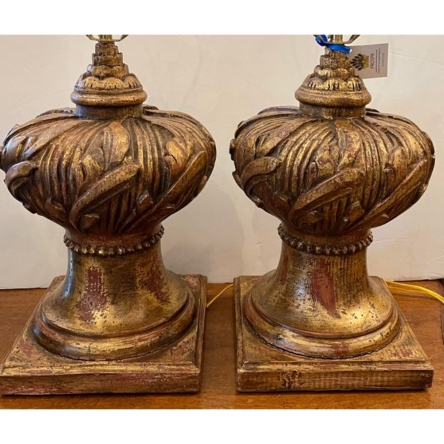 Hollywood Regency Venetian Urn Form Giltwood Table Lamps