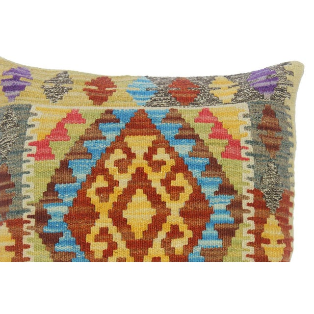 "Clemente Gold/Lt. Blue Hand-Woven Kilim Throw Pillow(18""x18"") For Sale - Image 4 of 6"