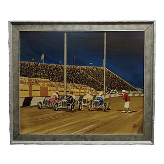 "1930s ""Car Race"" Oil Painting on Board by G. Fox For Sale"