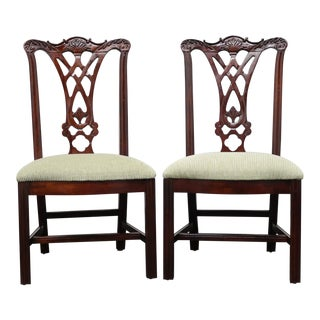 Thomasville Mahogany Chippendale Straight Leg Dining Side Chairs - Pair For Sale