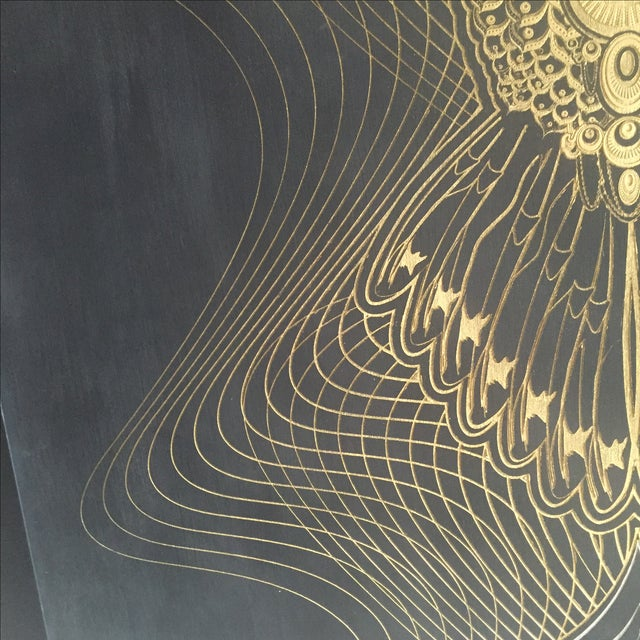 """Gold """"Owlage"""" Original Swarovski Encrusted Painting by Chris Saunders For Sale - Image 8 of 11"""