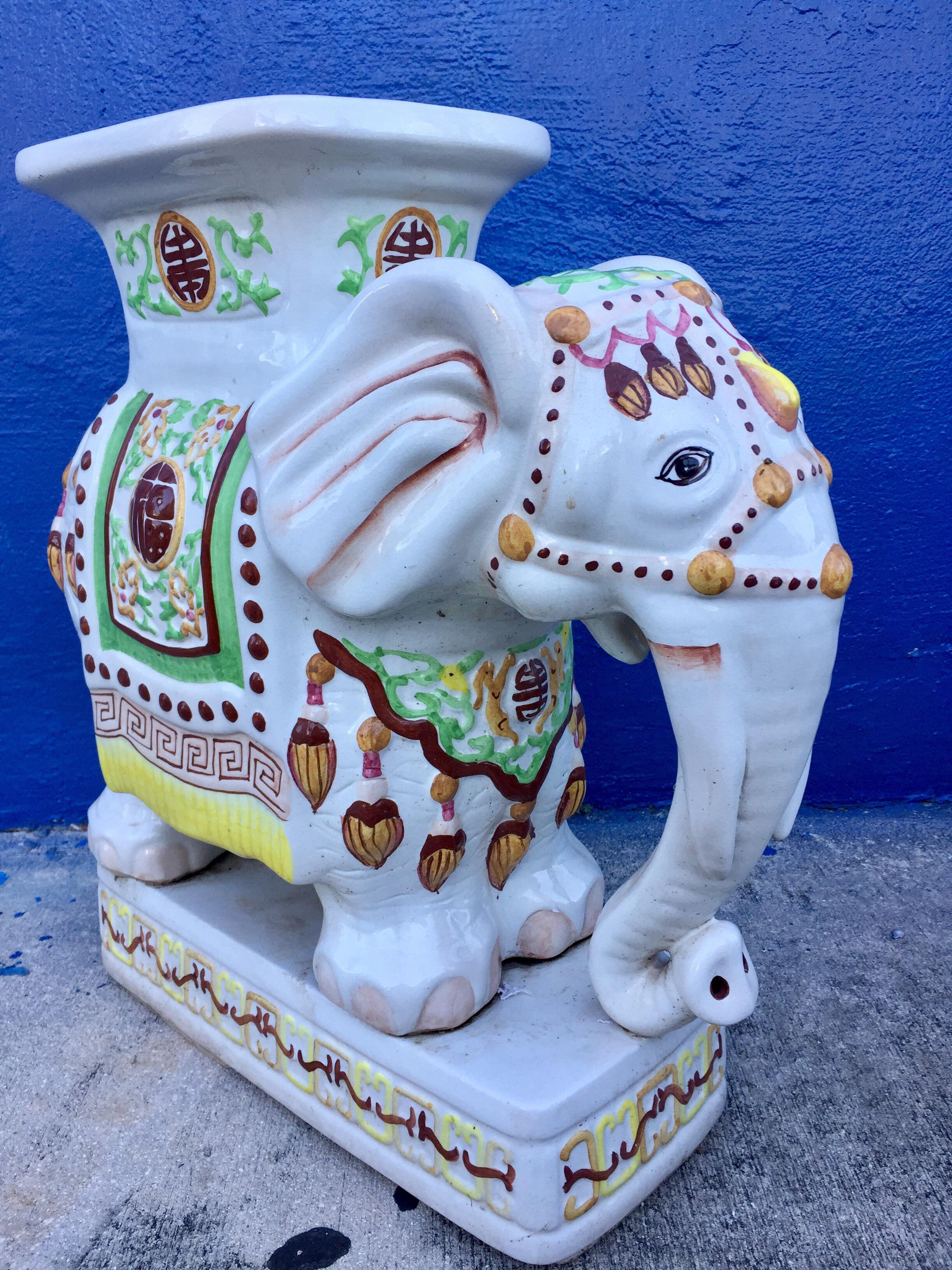Vintage Ceramic Elephant Garden Stool   Image 2 Of 11