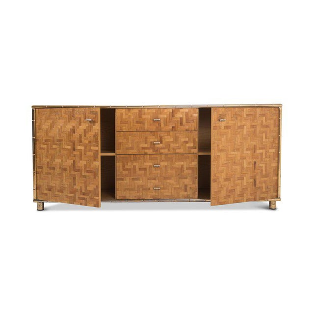 Hollywood Regency Sideboard in Rattan and Bamboo, 1970s For Sale - Image 6 of 9