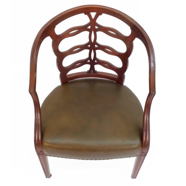 Frederick P. Victoria & Son, Inc. Carved Open Back Chair For Sale - Image 4 of 5