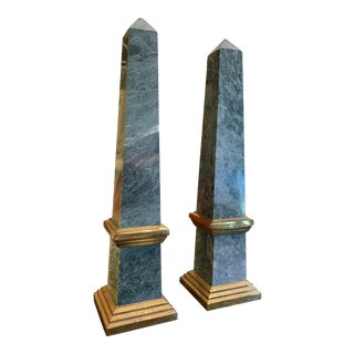 Green Granite and Polished Brass Grand Tour Style Obelisks - a Pair For Sale