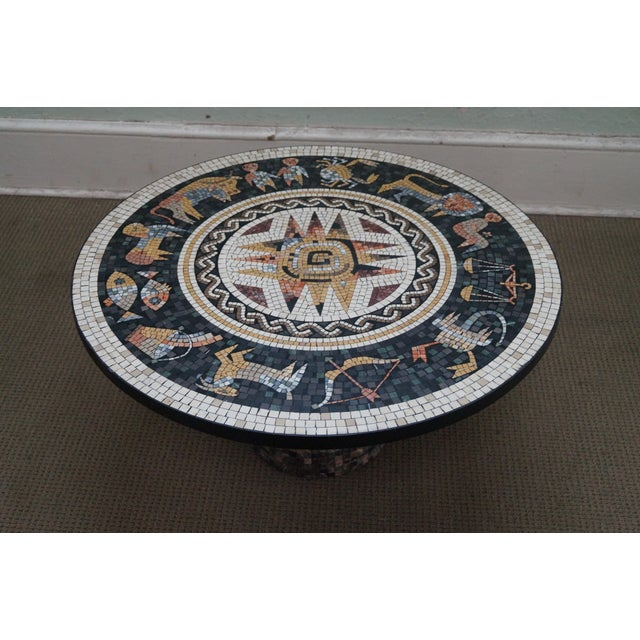 Traditional Horoscope Mosaic Stone Tile Pedestal Coffee Table For Sale - Image 3 of 10
