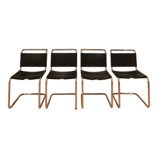 Mid Century Modern Marcel Breuer / Mart Stam B33-Style Cantilever Laced Black Leather Side Chairs- Set of 4 For Sale