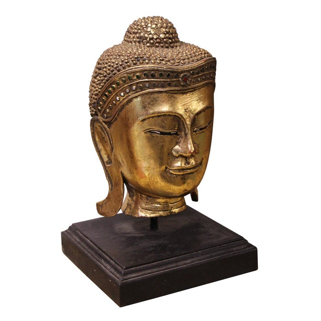Asian Handcrafted Gold Wood Serene Peaceful Buddha Head On Stand For Sale - Image 3 of 5