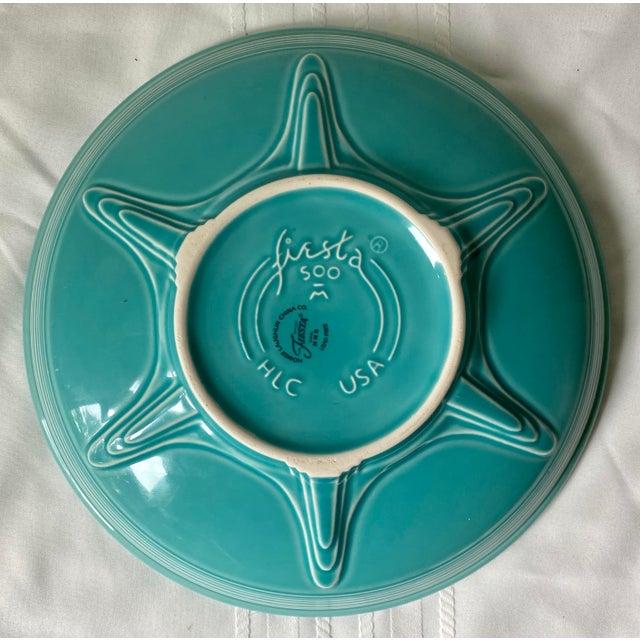 Lovely vintage blue / teal Fiesta Ware serving or fruit bowl. Excellent design and detail, little to no vintage wear.