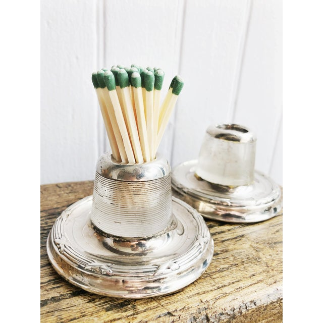1900 - 1909 Antique English Sterling Silver and Glass Match Strikers - a Pair For Sale - Image 5 of 10