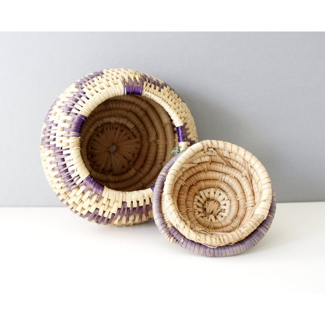 Vintage Woven Coil Basket With Round Purple Lid - Image 5 of 6
