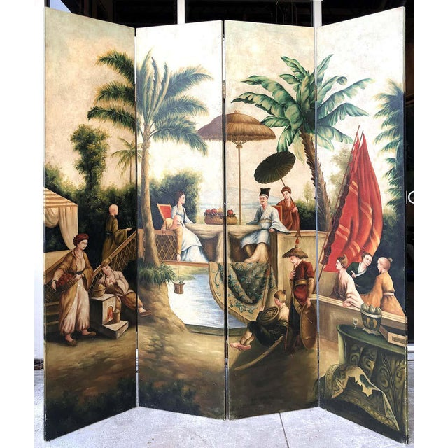 Maitland Smith Hand-Painted 4-Panel Asian Motif Royal Court Screen For Sale - Image 9 of 10
