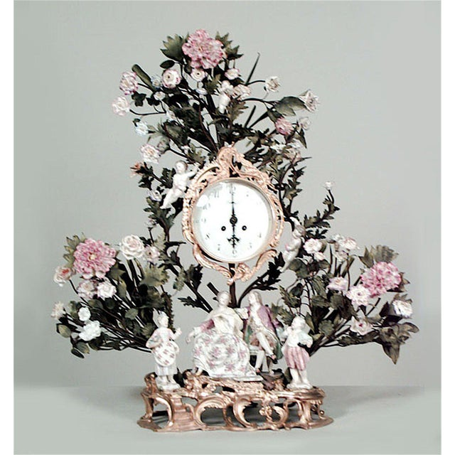 French Louis XV Style '19th Century' Porcelain Floral Decorated Mantel Clock For Sale In New York - Image 6 of 6