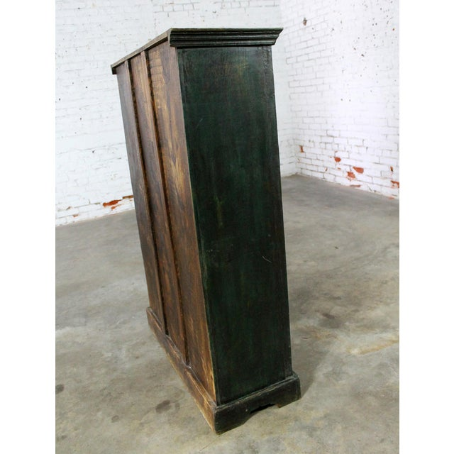 Asian Rustic Primitive Cupboard Storage Cabinet with Distressed Paint For Sale - Image 3 of 11