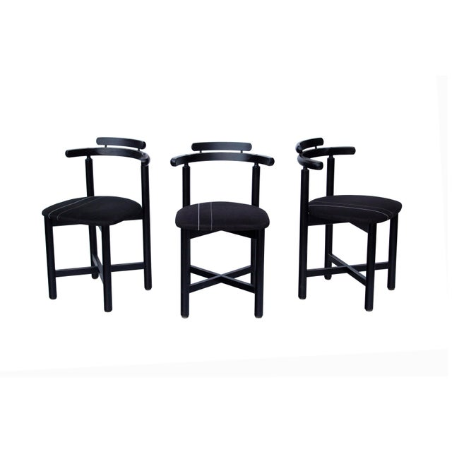 Set of 3 Danish Dining Chairs With Striped Seats For Sale - Image 12 of 12