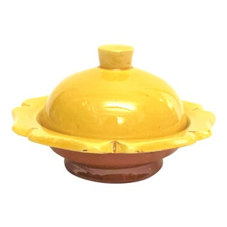 Hand Painted Yellow Small Moroccan Ceramic Serving Dish For Sale