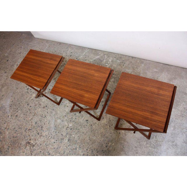 Nest of Three Teak Folding Tables by Illum Wikkelsø - Image 12 of 13