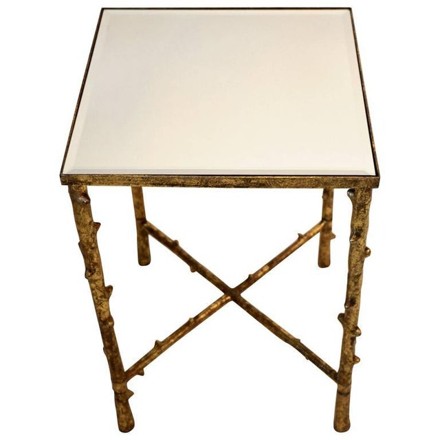 Faux Bamboo 1980s Vintage Beveled Mirror Top Side Table For Sale - Image 7 of 7