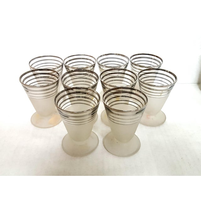Art Deco Frosted With Silver Rings Barware Glass Set 1930's For Sale - Image 4 of 6