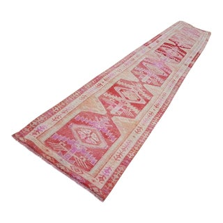 1970s Vintage Handmade Turkish Oushak Rug Runner - 2′7″ × 15′ For Sale