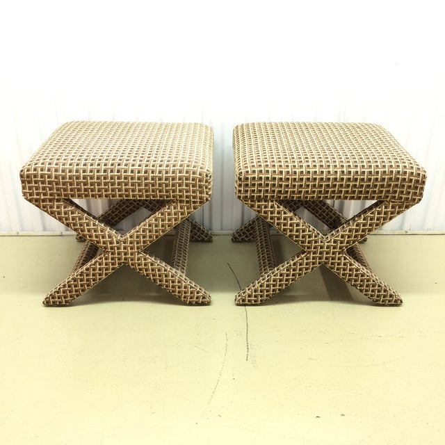 Upholstered X Ottoman Benches - A Pair - Image 3 of 7