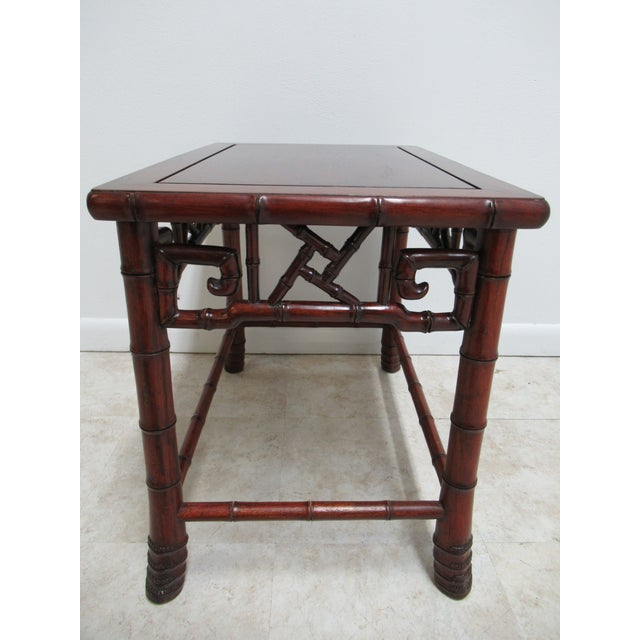 Brown Vintage Chinese Chippendale Rosewood Faux Bamboo Lamp End Table For Sale - Image 8 of 10