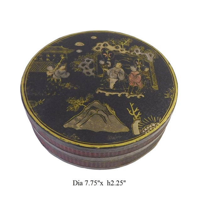 Chinese Black Lacquer Scenery Painting Round Box For Sale In San Francisco - Image 6 of 6