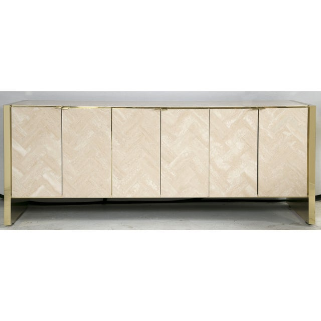 Ello Polished Travertine & Brass Credenza - Image 2 of 10