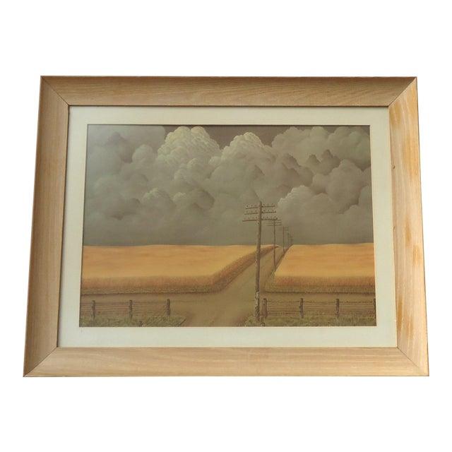 Vintage Regionalist Farm Landscape Print For Sale