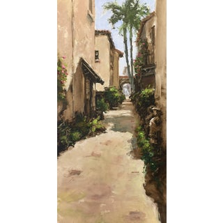 "Beckham Contemporary Architectural Oil Painting ""Worth Avenue Via"" For Sale"