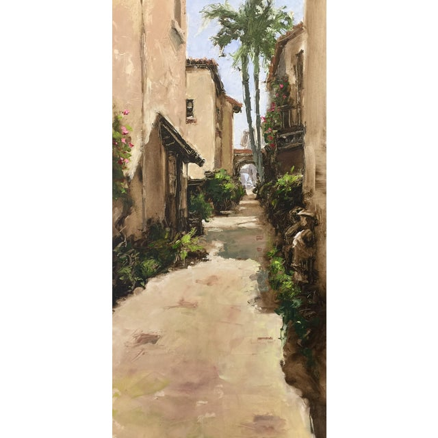 """Beckham Contemporary Architectural Oil Painting """"Worth Avenue Via"""" For Sale"""