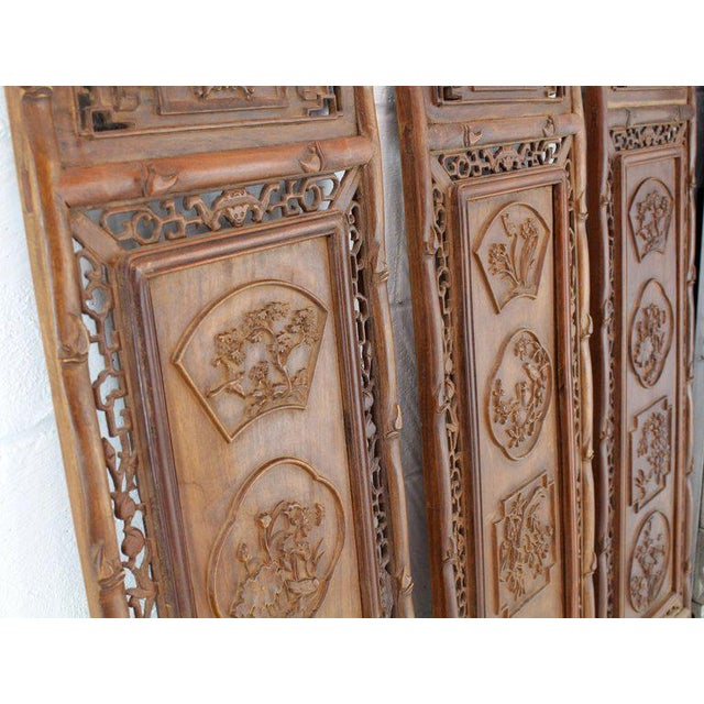 1920s Asian Carved Wall Panels - Set of 3 For Sale - Image 4 of 8