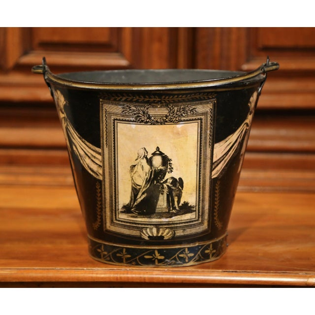 French 19th Century French Directoire Hand-Painted Black and White Tole Basket Planter For Sale - Image 3 of 9
