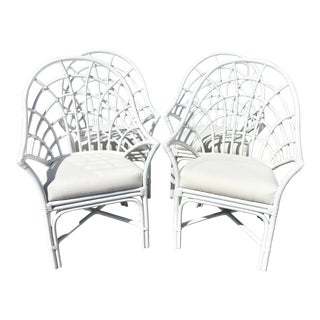 Century Freshly White Lacquer Rattan Arm Chairs - Set of 4 For Sale