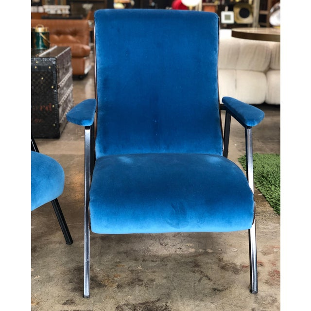 Lounge Armchairs in Wood and Blue Suede, Italy 1950s - a Pair For Sale - Image 4 of 11