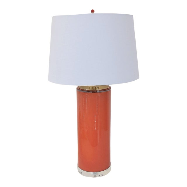 Coral Glass Cylinder Lamp & Shade - Image 1 of 5