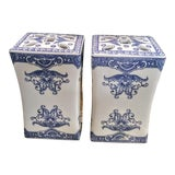 Image of A Pair Blue and White Ceramic Chinoiserie Tulipiere Vases For Sale