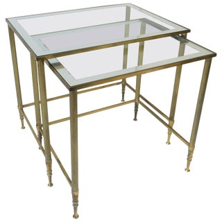 Italian Brass and Glass Nesting or End Tables For Sale