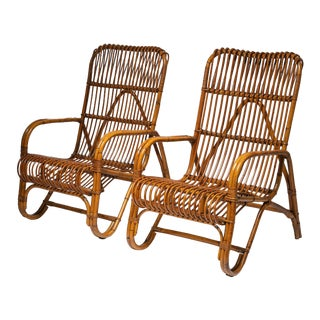 Set of Two Italian 60s Wicker Lounge Chairs