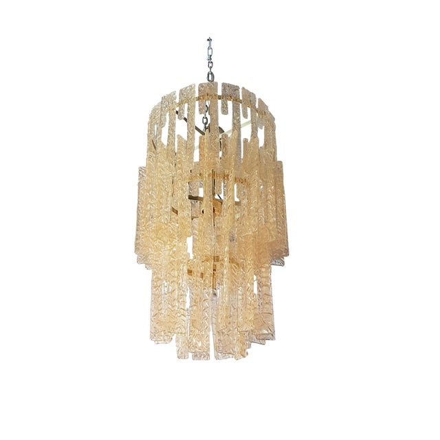 Mid century modern Mazzega gold hooks Murano interlocking glass elements chandelier - Image 1 of 7