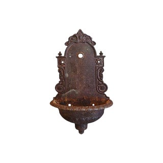Vintage Large French Cast Iron Wall Lavabo Planter Fountain