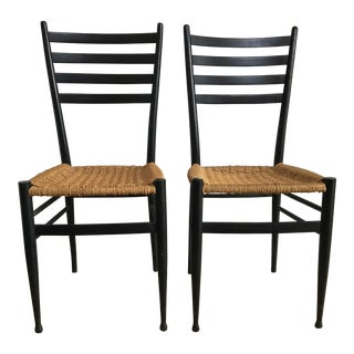 Mid-Century Modern Gio Ponti Black Ladderback Woven Chairs - a Pair For Sale