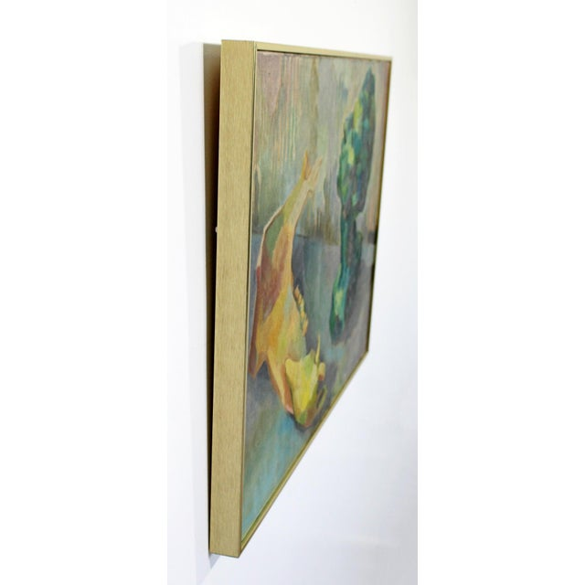 Canvas Mid-Century Modern Impressionist Framed Oil Painting on Canvas Signed B. Rosenbaum For Sale - Image 7 of 10