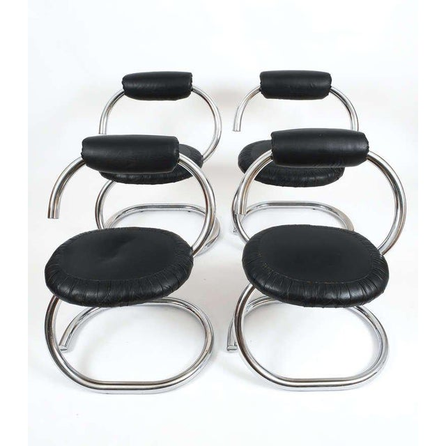 Very elegant and comfortable vintage spiral chrome chairs attributed to Italian designer Giotto Stoppino and produced for...