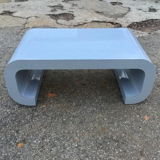 Mid-Century Modern Karl Springer Style Scroll Coffee Table For Sale - Image 3 of 7