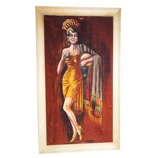 1960s Vintage Flamenco Dancer Velvet Painting For Sale