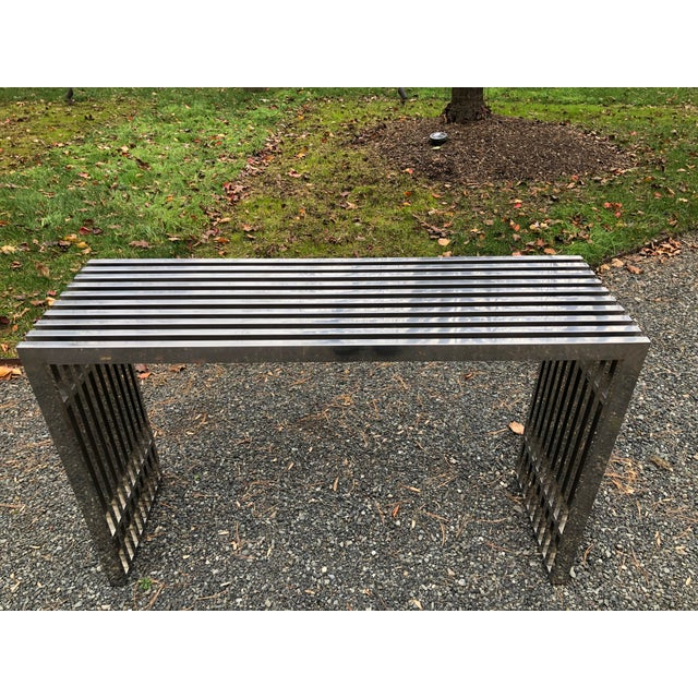 Mid-Century Modern Mid-Century Modern Chrome Console in the Style of Theo Eicholtz For Sale - Image 3 of 10