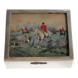 Antique Sterling Silver Equestrian Table Box For Sale
