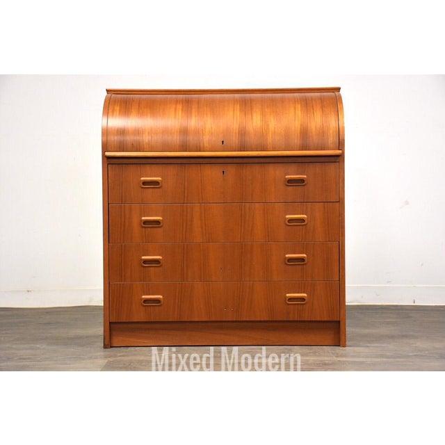 Modern Teak Drum Roll Secretary Desk For Sale - Image 13 of 13